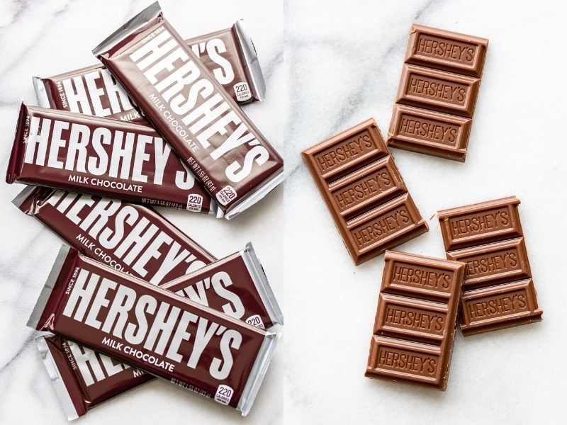A collage of Hershey's chocolate bars wrapped, and unwrapped and broken into pieces