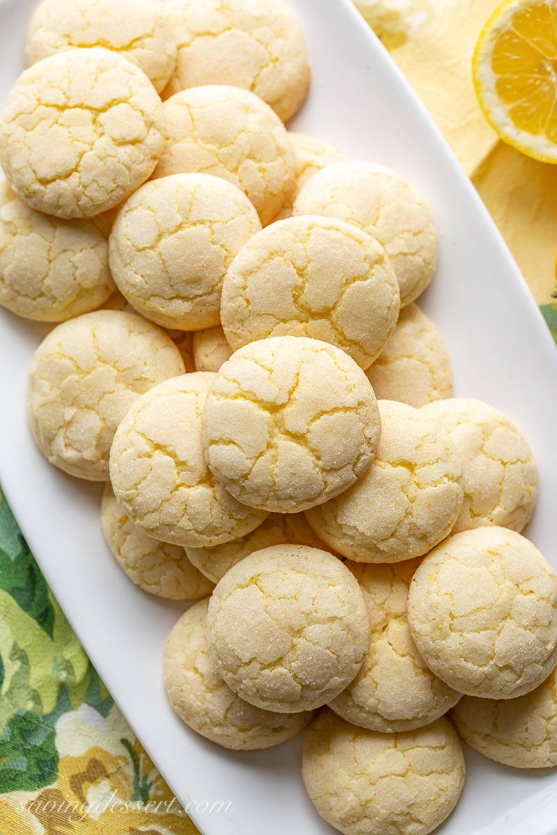 A platter of crinkly lemon sugar cookies