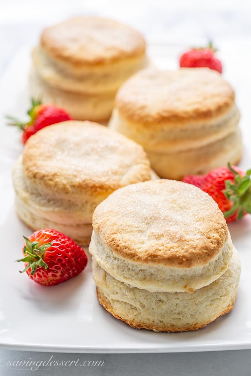 A platter with strawberry shortcake biscuits