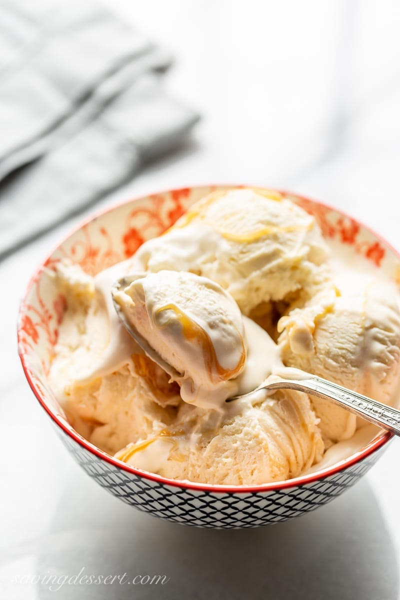 A bowl of no-churn ice cream with a spoon