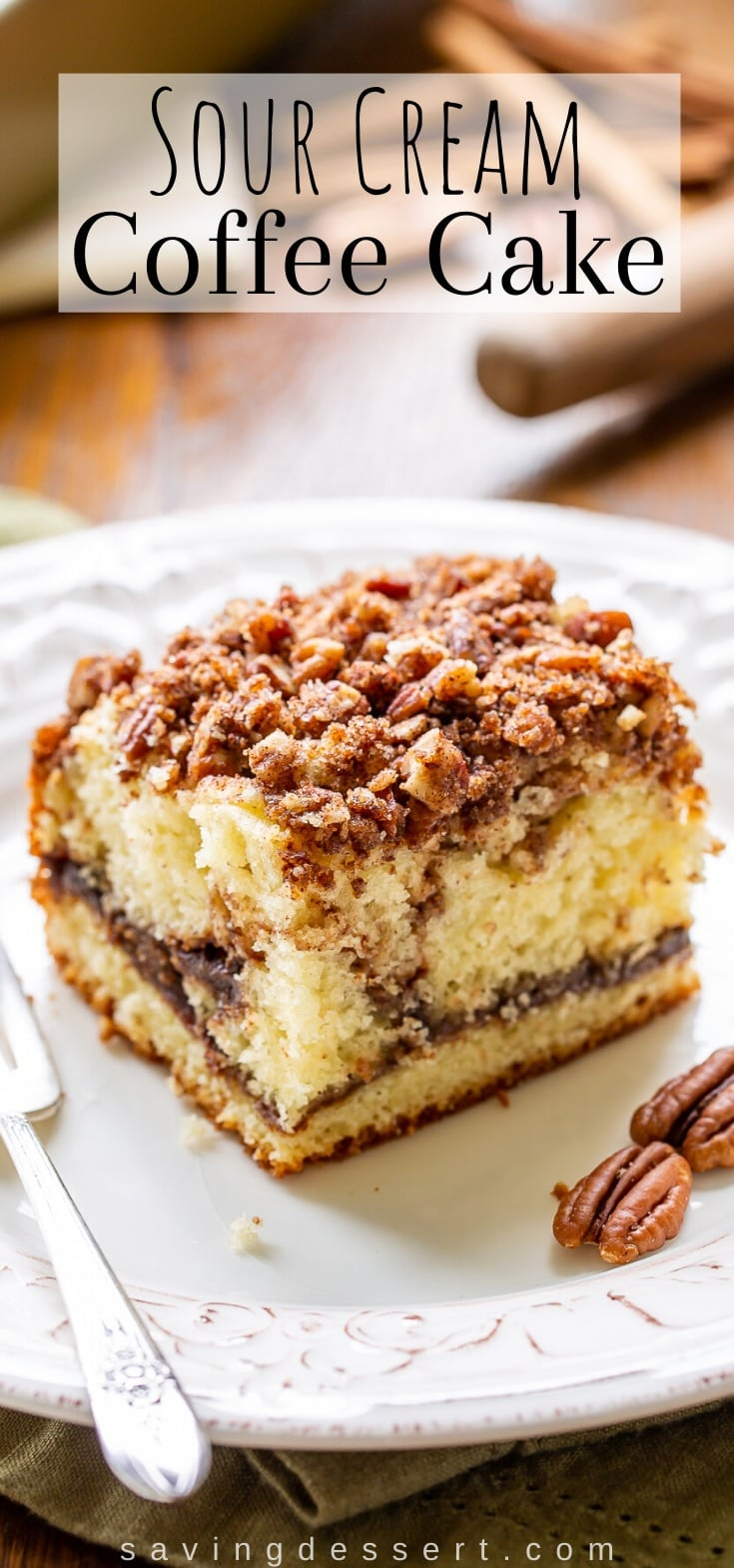 A square piece of cake topped with cinnamon pecan streusel with a ribbon of cinnamon through the middle.
