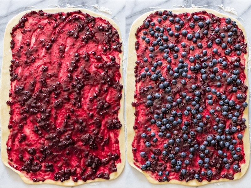 A collage of two photos showing sweet roll dough rolled into a rectangle topped with jam and blueberries