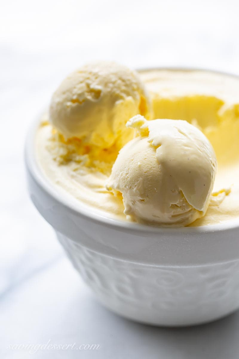 A white bowl of ice cream with two scoops set on top