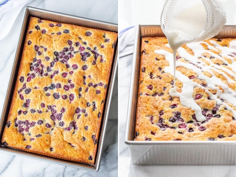 A collage of photos of a cake being drizzled with a white buttermilk glaze