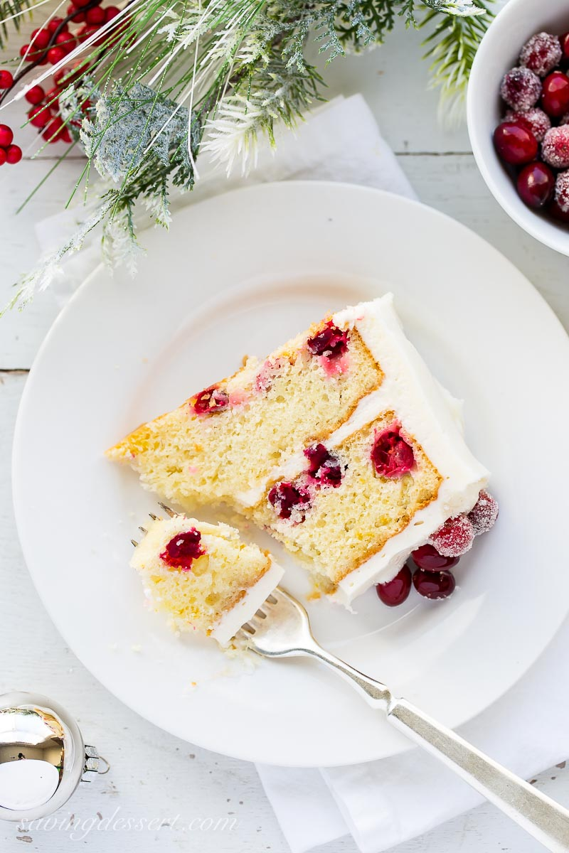 A slice of cranberry layer cake on a plate