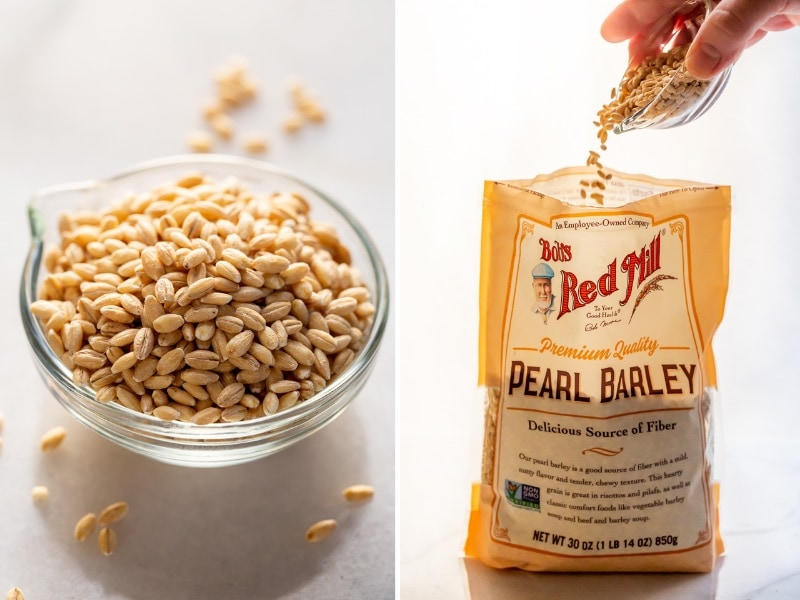 a collage of photos showing the texture of uncooked barley