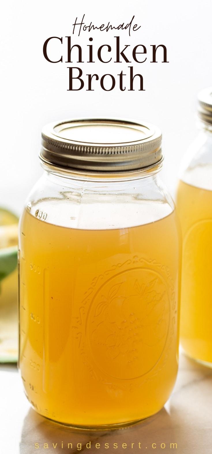 A closeup of a jar of homemade broth