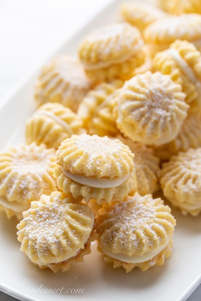 Lemon Cookies with lemon cream filling on a plate