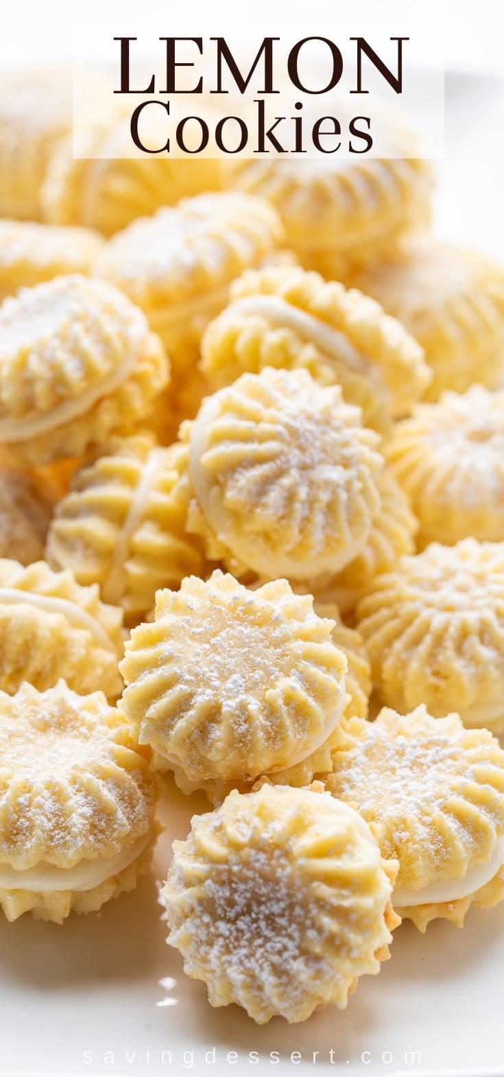A platter of lemon cream filled cookies