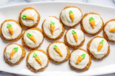 A platter of iced carrot cake cookies