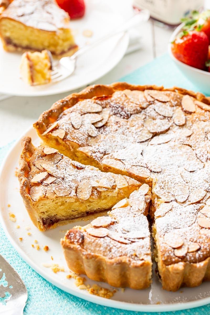 A Bakewell Tart on a platter