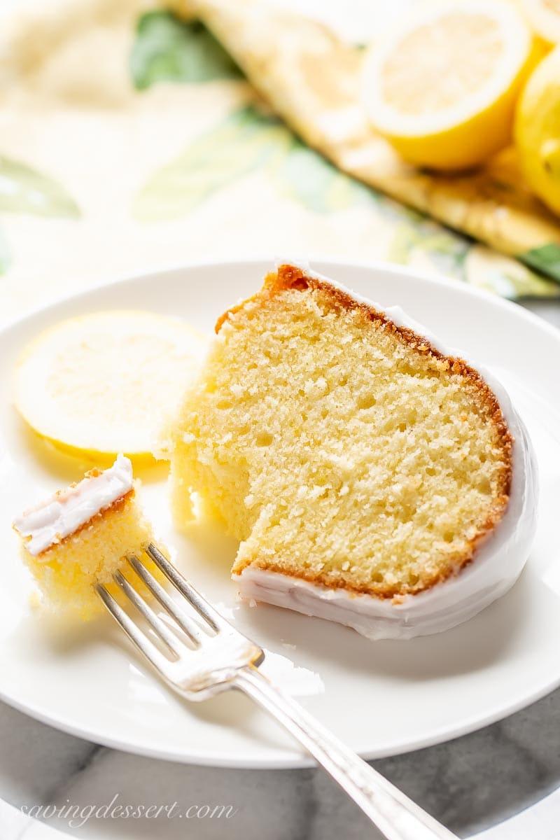 A slice of lemon cake on a plate