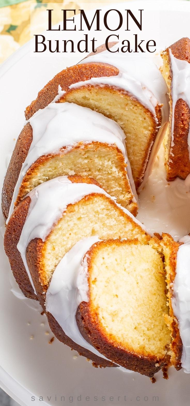 Sliced and iced Lemon Bundt Cake on a platter