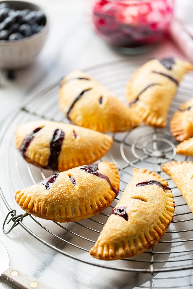Blueberry Hand Pies on a cooling rack