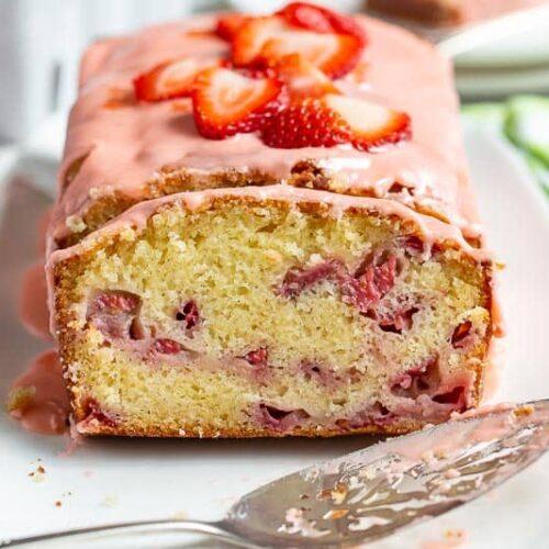 Closeup of a slice of strawberry cake